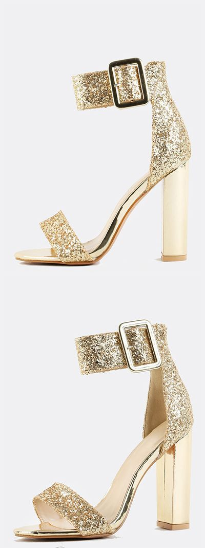 "Glitter Ankle Strap Chunky Heels GOLD. It's all about the fab life with the Glitter Ankle Strap Chunky Heels! Features an open toe,  chunky buckle, glitter/ metallic PU upper, ankle strap, and a back zipper. Finished with a chunky 4.5"" chunky heel."