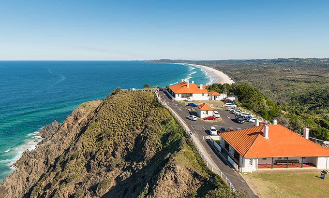 View of the lighthouse cottages, Cape Byron State Conservation Area.  Photo: John Spencer/OEH