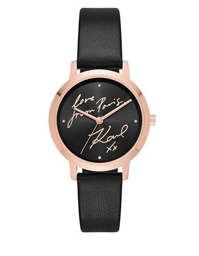 KARL LAGERFELD PARIS Camille Rose-Goldtone Leather Strap Watch