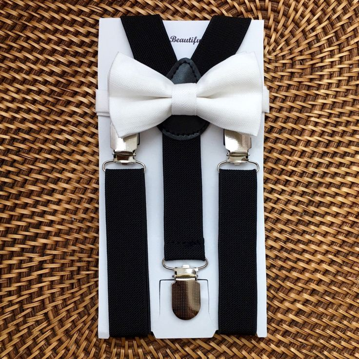 White Baby Bow Tie, White Toddler Bow Tie, Baby Bow Tie, Black Suspenders, Ring Bearer, White Bow Tie and Black Suspender Set-6 Mo to 5 yrs by Beautiful4Baby on Etsy https://www.etsy.com/listing/464557106/white-baby-bow-tie-white-toddler-bow-tie