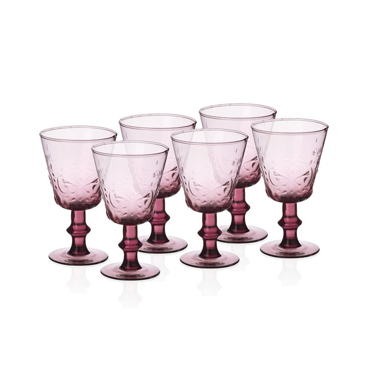 Bernardo Ayaklı Pembe Kadeh #drinking #glass #wine #pink #tabledesign