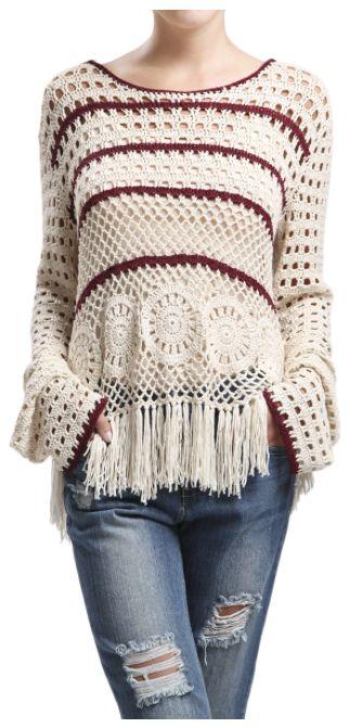 Fringe Burgundy Stripe Hoodie Sweater