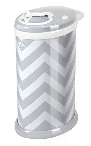 Ubbi Steel Diaper Pail, Gray Chevron - Babies R Us or Target - NEED! (remember, after 6 months, best bet is to dispose of poop diapers nightly for no smells.) There is a solid sand colored one, which might be good....