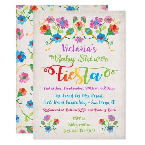 8b5dcfd3d862 Folk Art Embroidery Mexican Fiesta Baby Shower Invitation