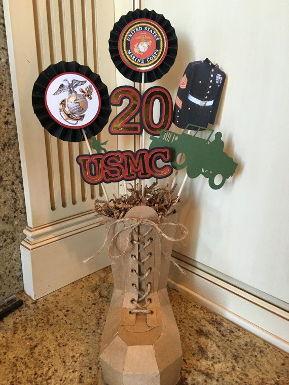 Marines Military USMC centerpiece by PoshBoxParties on Etsy