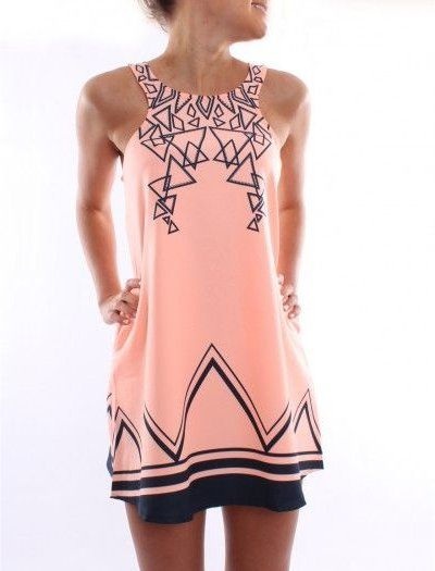 Cute casual peach summer dress 2014 with dark blue geometrical pattern