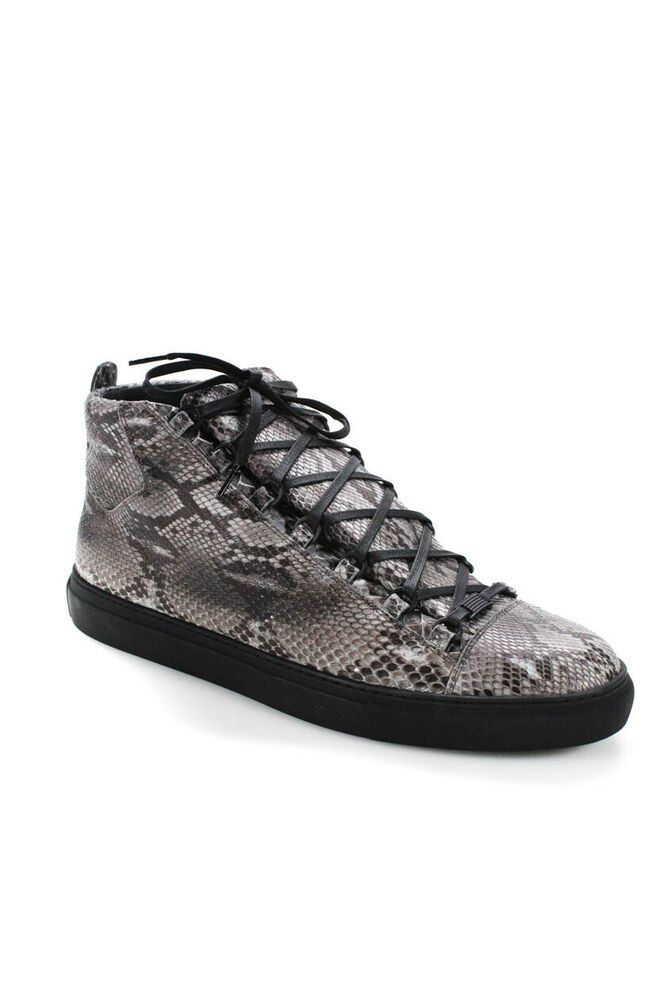 c0070069e4f eBay  Sponsored Balenciaga America Mens Python Skin High Top Punk Sneakers  Grey Black Size EUR 4
