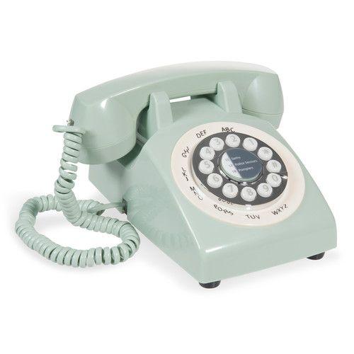 Téléphone vintage en plastique vert PASTEL