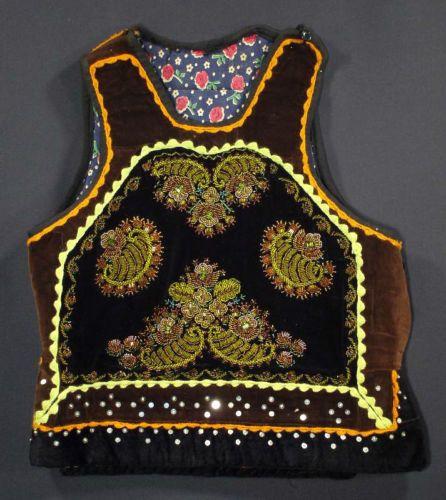 VINTAGE Romanian beaded folk costume vest Transylvania ethnic peasant coat beads