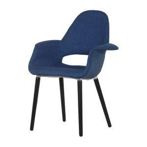 Tilburg Fabric Armchair in Blue with Black Legs