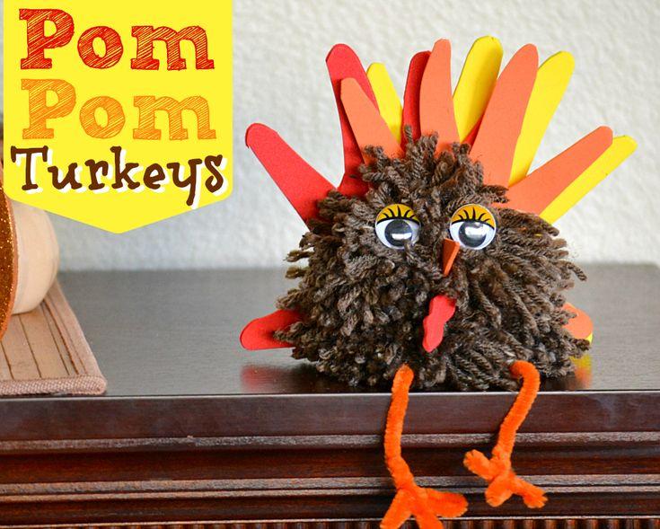 Pom Pom Turkey Thanksgiving Craft