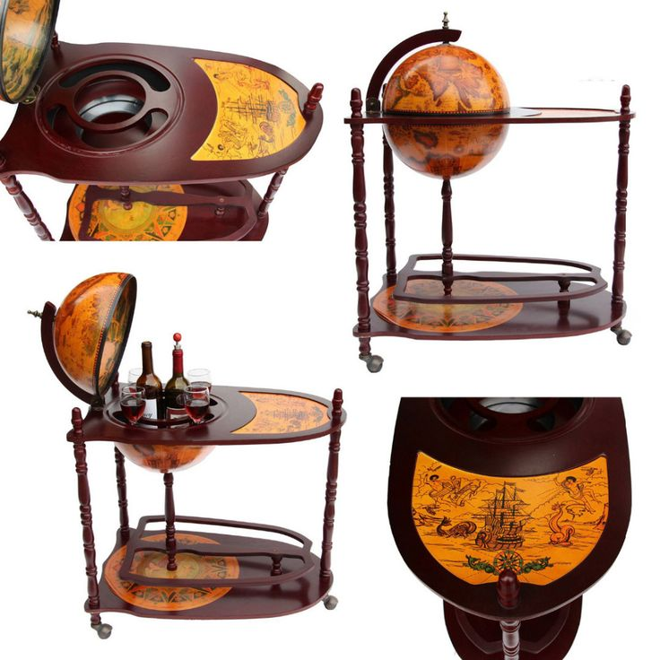 antique world globe bar stand liquor shelf drink cup bottle trolley table for home office