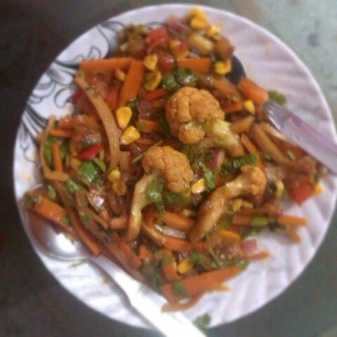 Made @ Home.... Amazing stir fried veggies in Mexican sauce.
