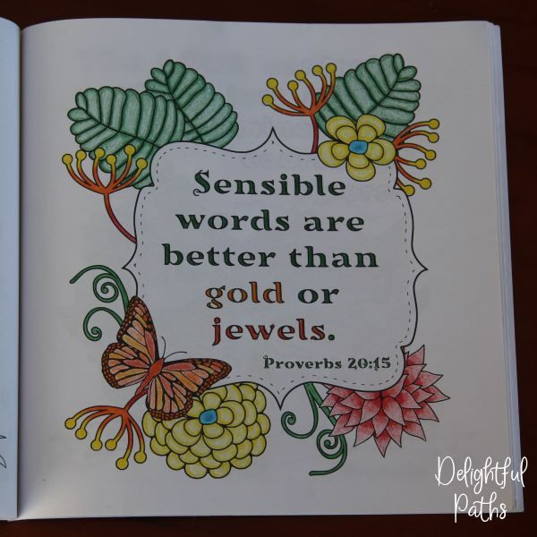 Proverbs adult coloring book from Delightful Paths Proverbs 20:15 CEV