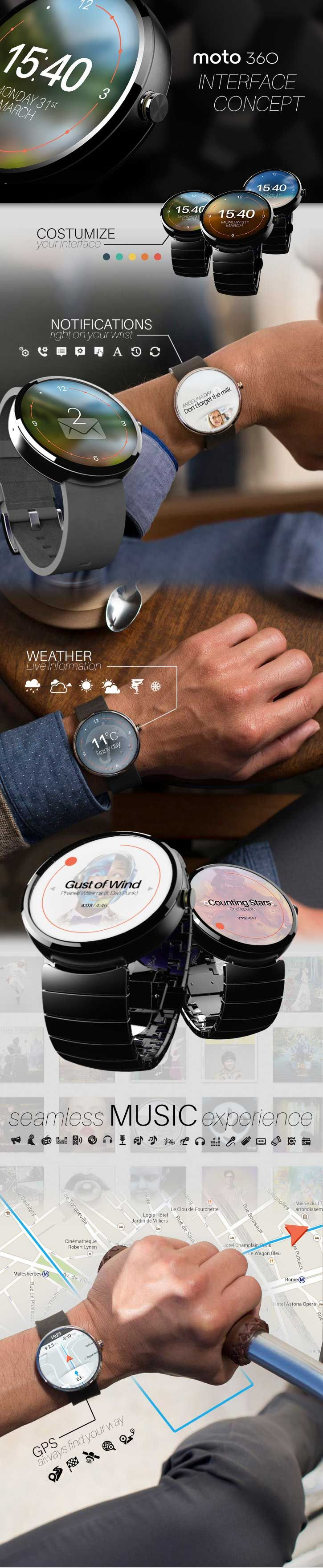 MOTO 360 UI Concept [Wearable Electronics: http://futuristicnews.com/tag/wearable/ Smart Watches: http://futuristicshop.com/category/smart-watches-wearable-electronics/]
