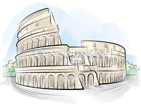 Dibujo color Coliseo, Roma, Italia — Vector de stock #6489083