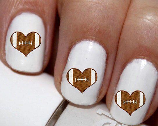 20 pc Football I Love Football Heart Football Nail Art  #cg2222na
