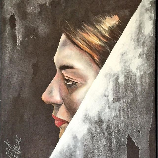ROMINA SANGIOVANNI 35x45 oil in canvas 2016 ( da foto di Ivan Franci) #face #fineart #figurative #art #Painter #artist #gallery #Painting #pittura #portrait