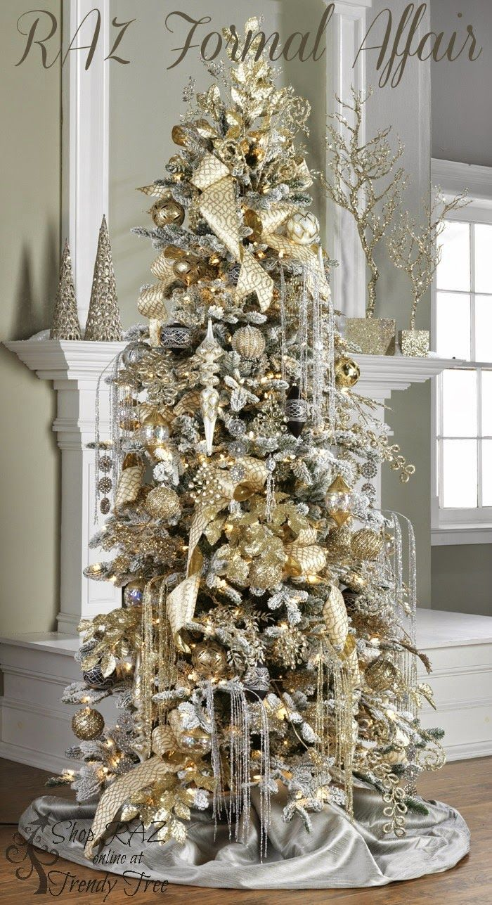Non traditional christmas tree ideas - Raz 2015 Formal Affair White And Gold Christmas