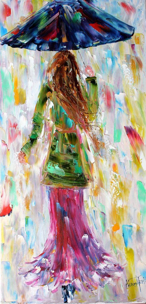 Original oil painting Spring Rain pink Dress by Karensfineart