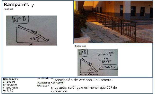 Esta rampa pertenece a la Asociación de Vecinos del barrio de La Zamora, y sus medidas son 505 cm y 5.6 grados. La horizontal mide alrededor de 507.4 cm.
