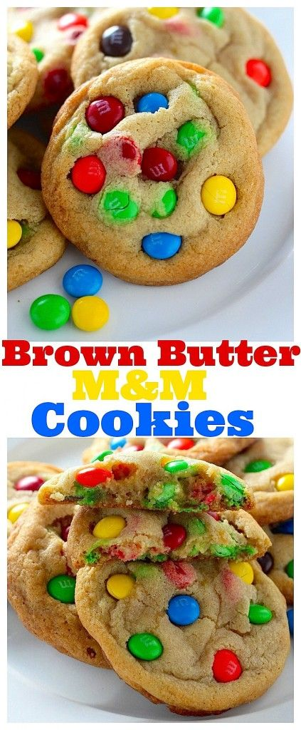 Thick and Chewy Brown Butter M&M Cookies! An easy recipe that is sure to please!!!