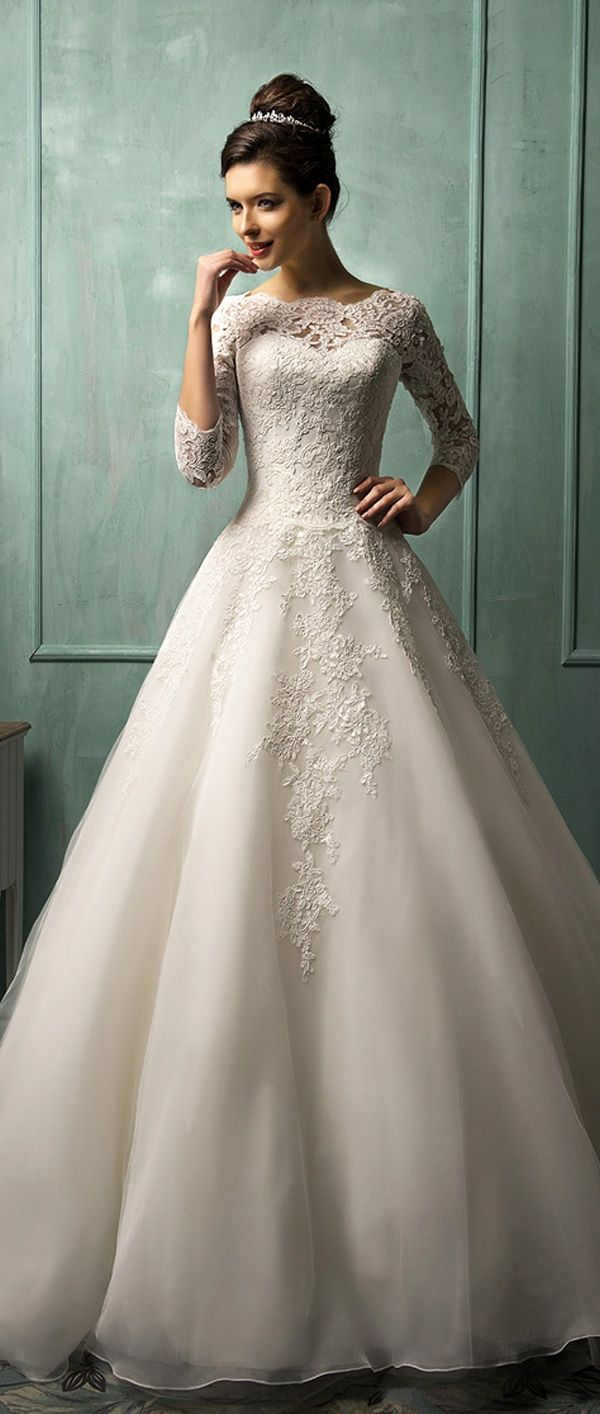 Elegant Tulle Bateau Neckline A-line Wedding Dresses With Lace Appliques                                                                                                                                                                                 More