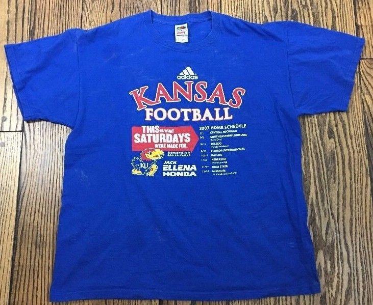 KU Football Schedule Shirt University Of Kansas 2007 Blue T Shirt XL. 273