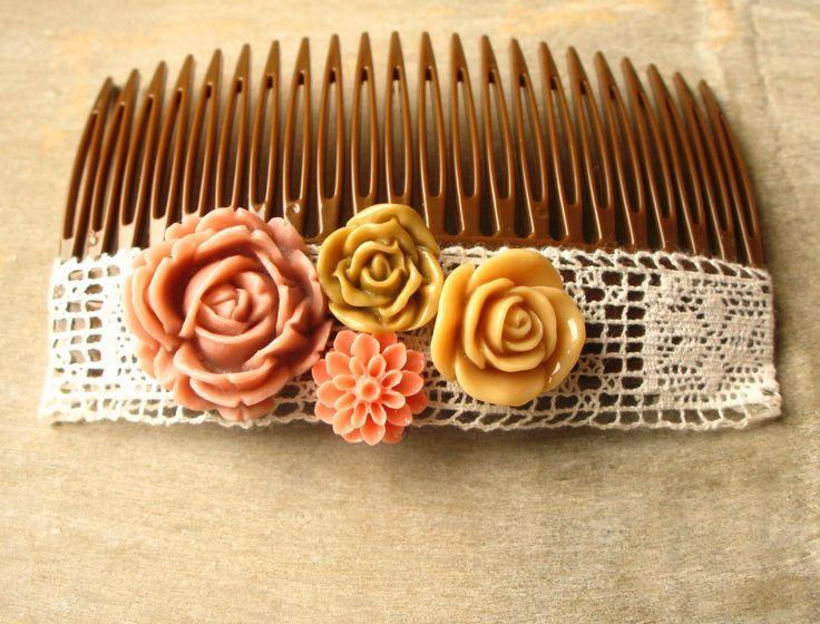 Peigne pour les cheveux marron fleurs et dentelle vintage (taille grande) : Accessoires coiffure par piola