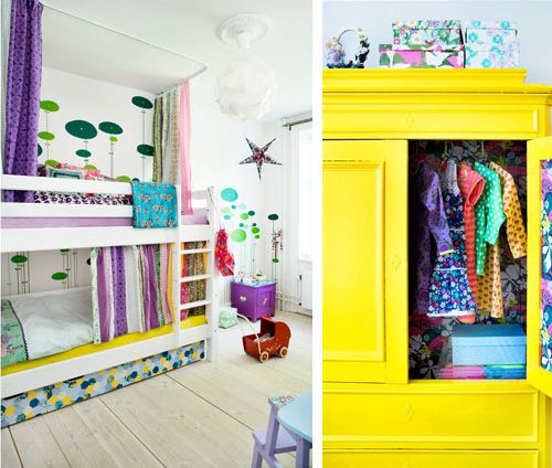 Dyana  Check out the bunk bed, it has curtains you can close.....how cool!!!  Bunk beds: colourful girls' room