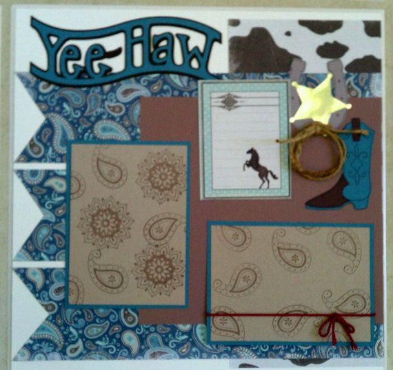 Cowboy / Rodeo 12x12 premade scrapbook layout page by ohioscrapper  Stampin' Up!