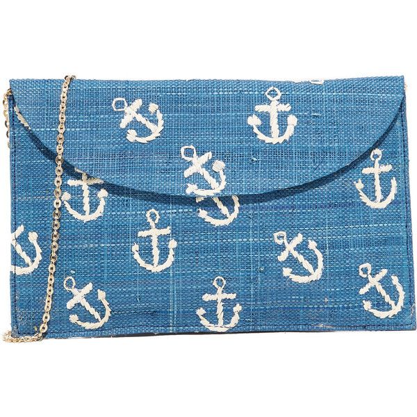 Kayu Anchor Clutch ($135) ❤ liked on Polyvore featuring bags, handbags, clutches, navy, blue purse, navy purse, chain-strap handbags, navy handbags and navy blue handbags