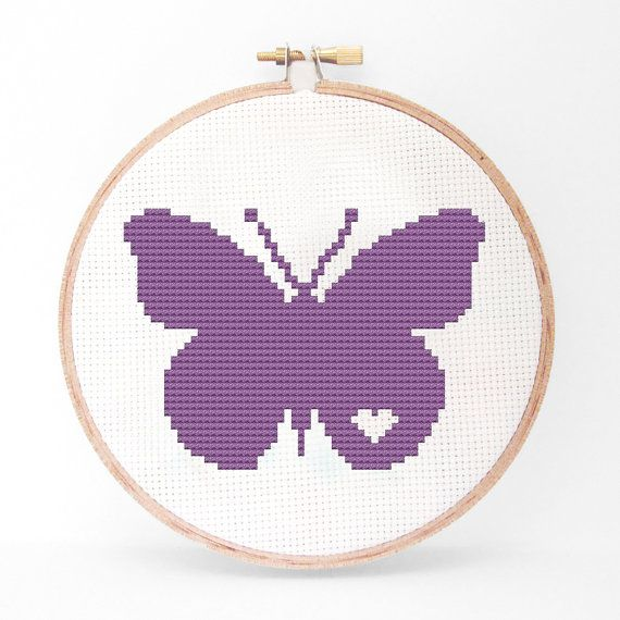 Butterfly Silhouette Cross Stitch PDF Pattern I by kattuna on Etsy
