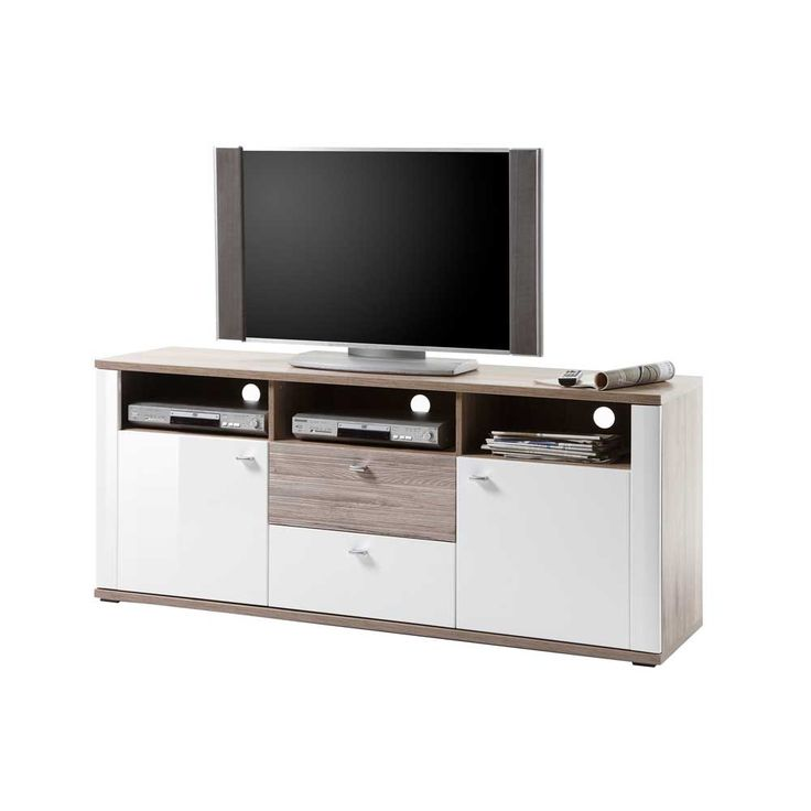 Perfect TV Board in Hochglanz Wei Eiche dunkel modern Jetzt bestellen unter https moebel ladendirekt de wohnzimmer tv hifi moebel tv lowboards uid udaef
