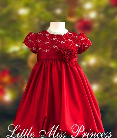 Red White Snowflaskes Bubble Hem Dress