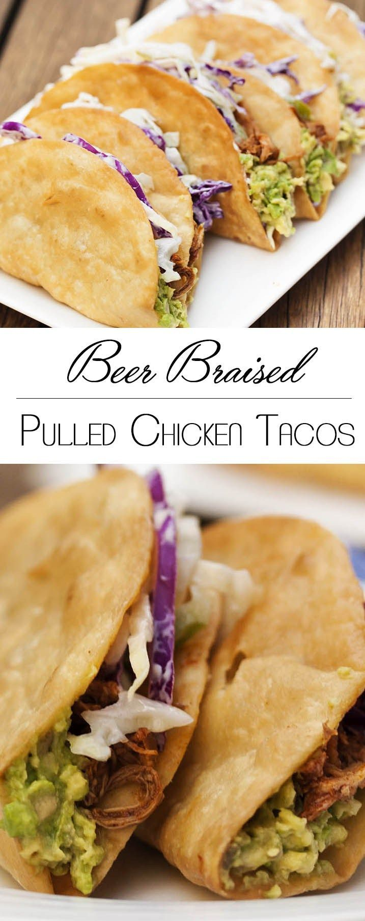Beer Braised Pulled Chicken Tacos - These tacos feature slow cooked chicken braised in beer and finished with adobo sauce all layered with spicy coleslaw and guacamole.   justalittlebitofbacon.com