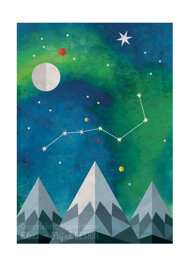 Polaris is a print reproduced from my original digital illustration featuring The Plough, an asterism in the night sky which always points towards the