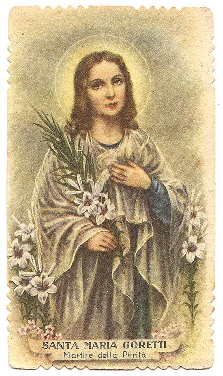 St. Maria Goretti with Lily Flowers Antique by 12StarsVintage