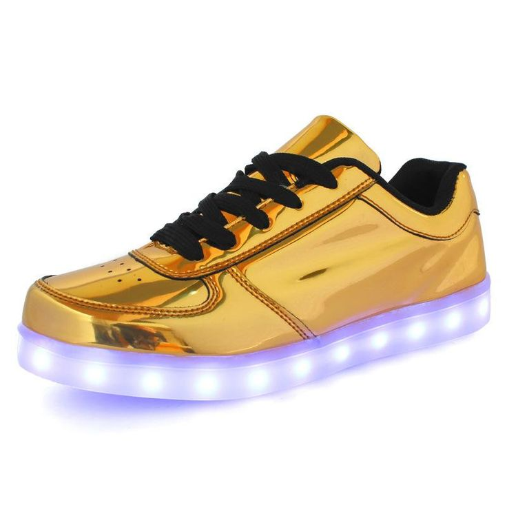 Gold Size Plus 10~15 Women/men Led Shoes Couples Glowing Flats For Casual Walking Luminous Usb Unsex Light Up Fashion Sneakers