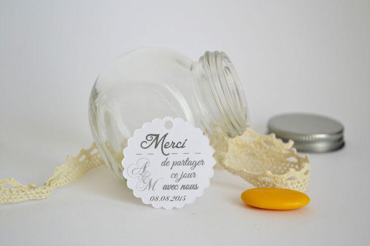 Lot de 10 étiquettes dragées papier remerciements - Mariage Baptême Cérémonie dragées - Marque-places - personnalisées -sur commande - décoration table