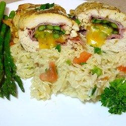 Stuffed Chicken Breasts with Asparagus and Parmesan Rice - Allrecipes.com