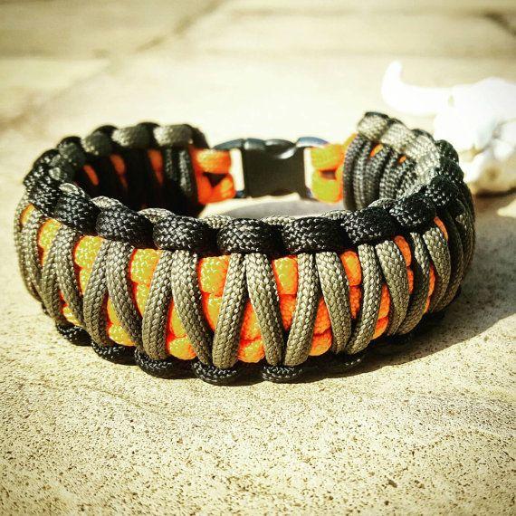 Black Gray Orange King Cobra Paracord Bracelet, Hunting Fashion, Fathers Day Gift, Mens Bracelet, EDC Bracelet, Wanderlust Accessories, EDC