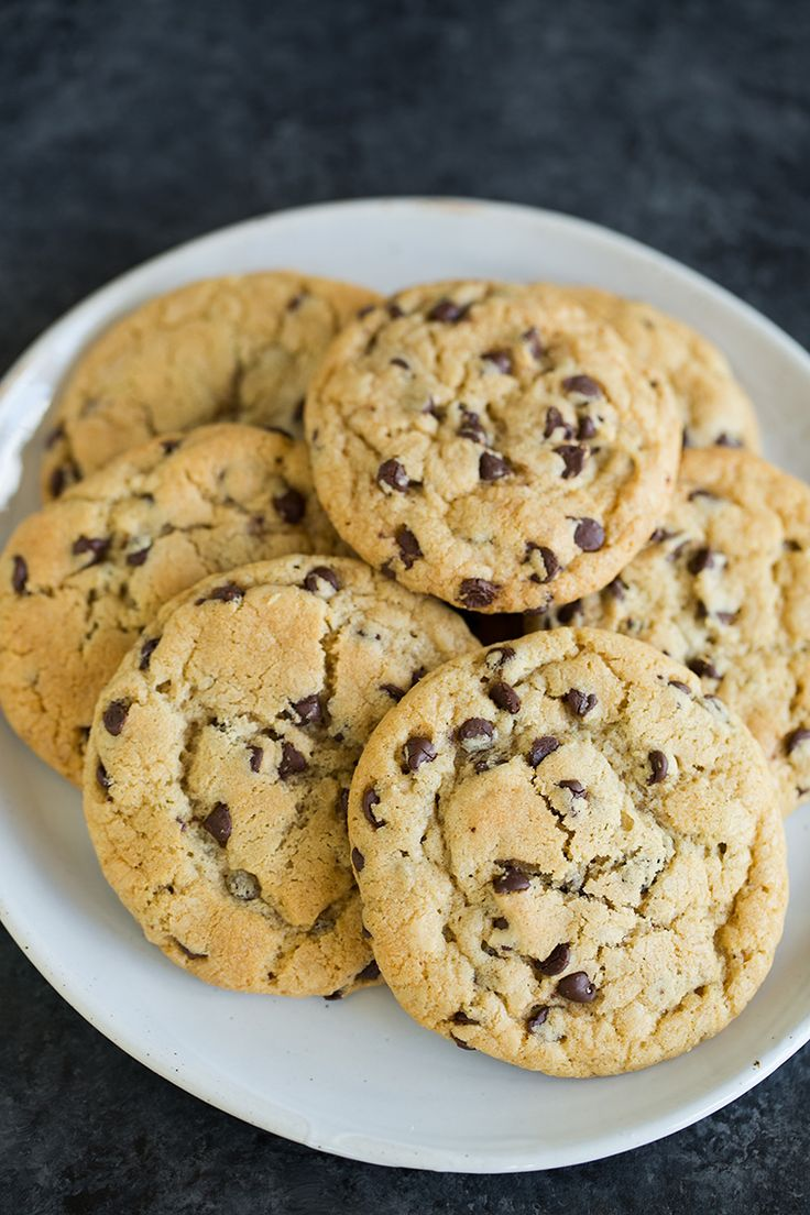 A big plate of soft and chewy chocolate chip cookies.