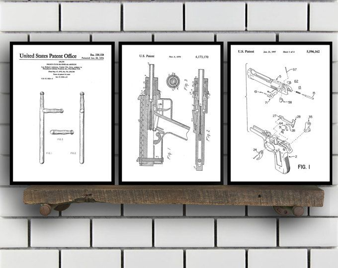 Police Patent Set of THREE, Police Patent Art - Police Art - Police Poster - Police Wall Art - Police Officer, Handcuffs, Police hat SP159