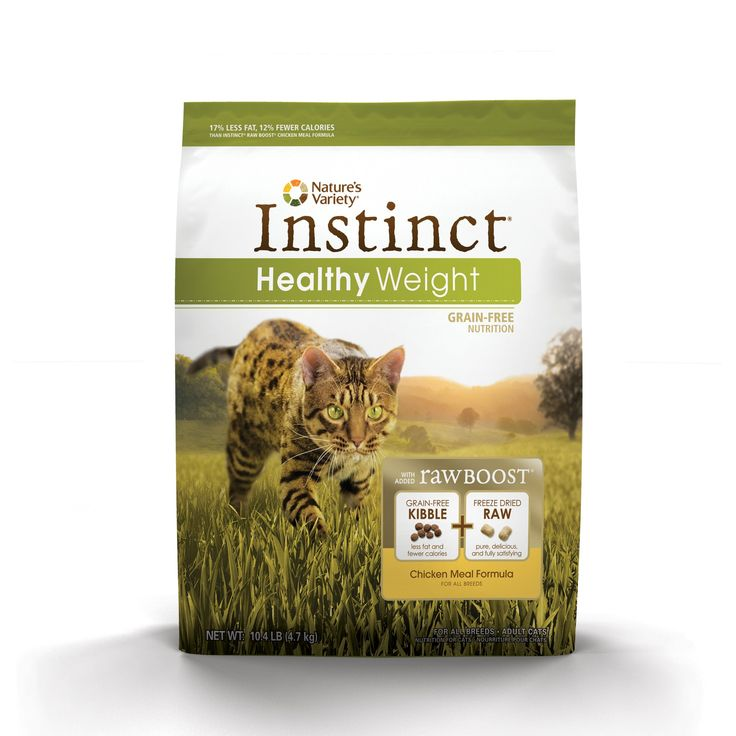 Nature's+Variety+Instinct+Healthy+Weight+Grain-Free+Chicken+Meal+Cat+Food+-+Healthy+weight+grain-free+and+gluten-free+cat+food+with+less+fat+and+fewer+calories.+Contains+L-Carnitine+to+help+burn+fat+and+probiotics+to+maintain+digestive+health.+Balanced+fiber+levels+help+pets+feel+full+longer. - http://www.petco.com/shop/en/petcostore/product/natures-variety-instinct-healthy-weight-grain-free-chicken-meal-cat-food
