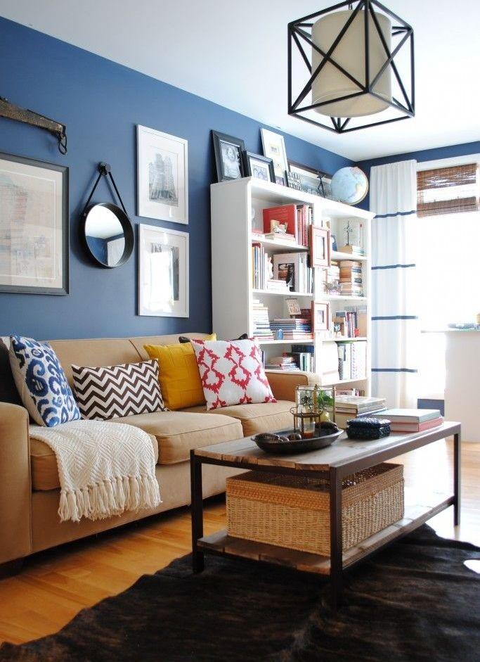 Unique Blue and White Living Room Design