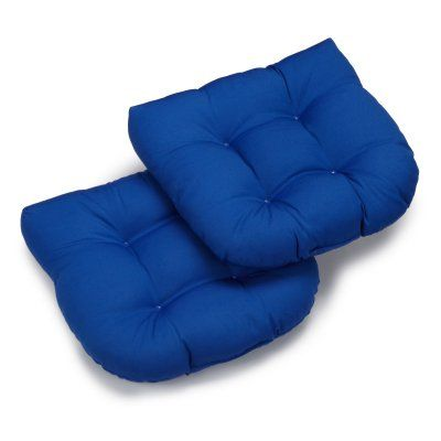 Blazing Needles Twill U-Shaped Indoor Chair Cushion - Set of 2 Royal Blue - 93184-2CH-TW-RB