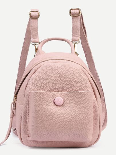 Pink Pebbled Faux Leather Backpack