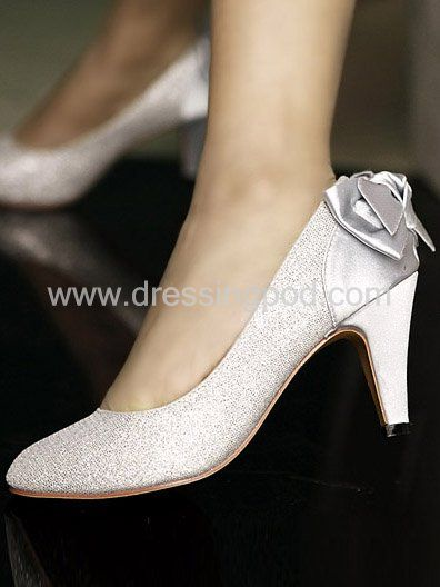 Silver Bow Mid Heels Bridal Bridesmaid Mother Of Bride Evening Prom Shoes
