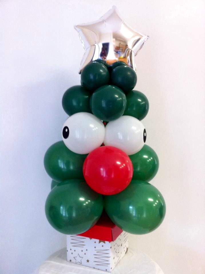 Standard Green Funny Face 5inch Christmas Tree with Silver Star on a Box